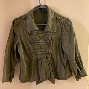 Adorable mock military jacket